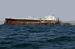 Commercial Oil Tanker Abqaiq Readies Itself To Receive Oil At Mina-al-bkar Oil Terminal (mabot) An Off Shore Iraqi Oil Installation Clip Art