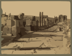 Ruins Of Roman Triumphal Street In City Of Thamugadi (timgad), Algeria Clip Art