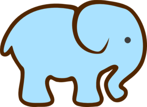 Blue Elephant Brown Clip Art