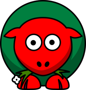 Sheep Red Green Two Toned Looking Straight Clip Art