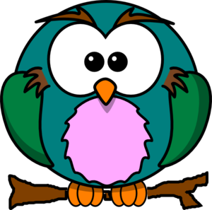Cute Owl On Branch Clip Art