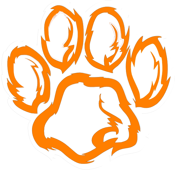 tiger paw white orange clip art at clkercom vector clip