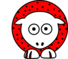 Sheep - Red And White With Polka Dots Clip Art