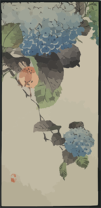 Small Bird And Hydrangea. Clip Art