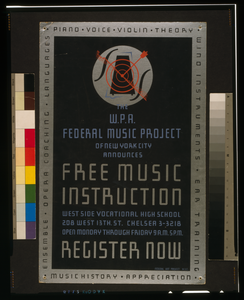 The W.p.a. Federal Music Project Of New York City Announces Free Music Instruction - Register Now Image