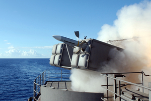 A Rim-7 Nato  Sea Sparrow  Missile Launches From Aboard Uss Harry S. Truman (cvn 75) Image