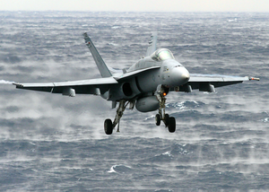 An F/a-18c Hornet Assigned To The  Valions  Of Strike Fighter Squadron One Five (vfa-15) Makes Its Final Approach Before Landing. Image