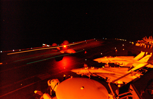 F/a-18c Hornet Lands On The Flight Deck Of The Aircraft Carrier Uss Constellation (cv 64) Image