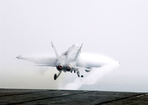 F/a-18  Hornet  Launches From The Flight Deck Of The Uss George Washington. Image