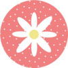 Daisy With Polka Dots Coral Clip Art