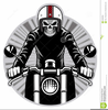 Skeleton Riding Motorcycle Clipart Image