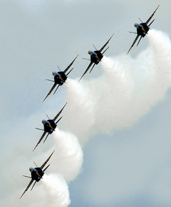 The U.s. Navy Flight Demonstration Team, The Blue Angels Perform In The Final Show Of The 2003 Season Image