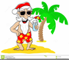 Santa Claus At The Beach Clipart Image