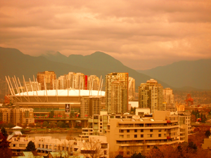 Downtown Vancouver Skyline Including Stadium Image