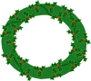 Evergreen Wreath With Large Holly Clip Art