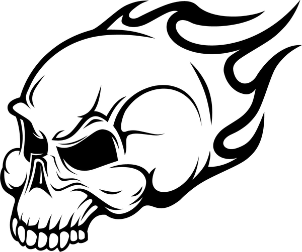 Evil Skull Coloring Pages Flaming skull .
