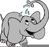 Elephant Spraying Water Clipart Image