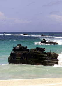 Armored Amphibious Vehicles (aav) Land On Blue Beach Vieques. Image