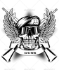 Skull In Beret And Two Automatic Guns Image
