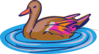Brown And Pink Duck In Water Clip Art