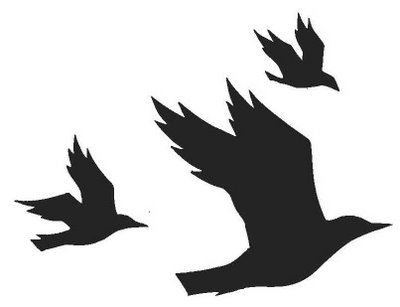 three flying crows cropped image