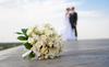 Bride And Groom With Flowers Powerpoint Backgrounds Image