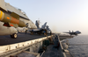 An F/a-18c Hornet, Loaded With A 2,000-lb. Gbu-12 Guided Missile, Is Relocated On The Flight Deck Aboard Uss Kitty Hawk (cv 63). Image
