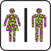 Large Man Woman Bathroom Sign Green Polka Dot Clip Art