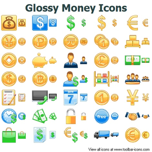 Glossy Money Icons Image