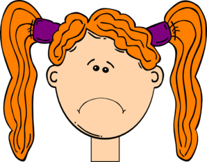 Frowning Red Head Girl Clip Art