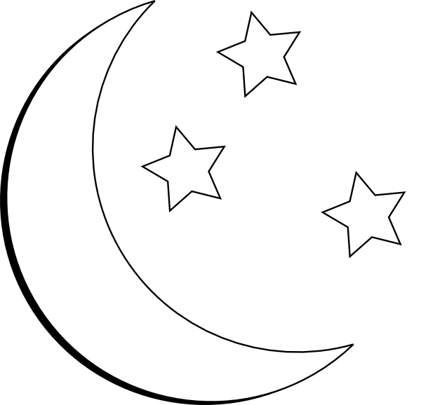 Moon And Stars Outline Clip Art at Clker.com - vector clip ...