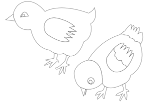 Chickens Vector Coloring Clip Art
