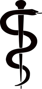 Rod Of Asclepius Upright Clip Art