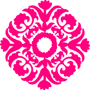 Hot Pink Damask Flourish Clip Art
