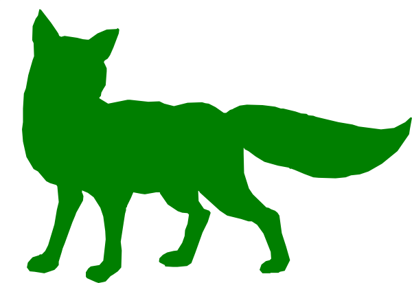 Fox outline. Green clip art at