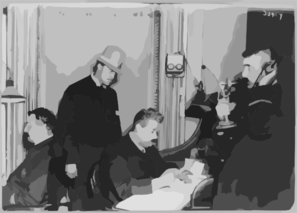 [new York City Police Dept. Activities: Information Bureau At Hq--4 Men At Work] Clip Art