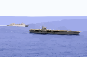 The U.s. Navy  Nuclear Powered Aircraft Carrier Uss Nimitz (cvn 68) And The Fast Combat Support Ship Uss Bridge (aoe 10) Underway While In The Pacific Ocean Clip Art