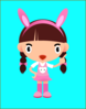 Girl With Bunny Ears Clip Art