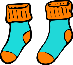 Turquoise Orange Sock Clip Art