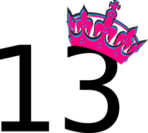 Pink Tilted Tiara And Number 13 Clip Art