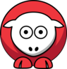 Sheep - Two Toned Red Clip Art
