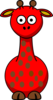 Red Giraffe With 16 Dots Clip Art