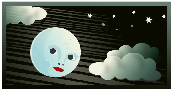 cartoon sun and clouds. Cartoon Moon Clouds