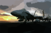 An F/a-18c Hornet Assigned To The Stingers Of Strike Fighter Squadron One One Three (vfa-113) Sits Chained To The Flight Deck Of Uss John C. Stennis (cvn 74) As The Sun Sets. Clip Art