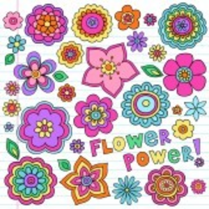 Flower Power Flowers Groovy Psychedelic Hand Drawn Notebook Doodle Design Elements Set On Lined Sket Image