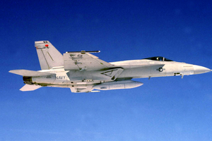 F/a-18e Super Hornet With Sharp Pod Attached. Image