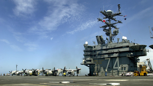 Four C-2a Greyhounds From The  Providers  Of Fleet Logistic Support Squadron Thirty (vrc-30) Are Parked On The Flight Deck Of Uss John C. Stennis (cvn-74) Image