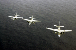 S-3b Viking Aircraft Assigned To The Dragonfires Of Sea Control Squadron Two Nine (vs-29), Fly Over The Western Pacific Ocean. Image