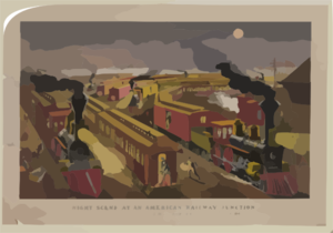 Night Scene At An American Railway Junction: Lightning Express, Flying Mail, And Owl Trains,  On Time   / Parsons & Atwater Del. Clip Art