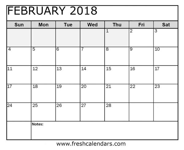2018 calendar printable word